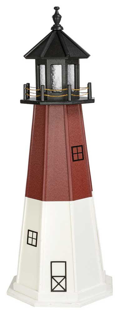 5' Amish Crafted Wood Garden Lighthouse - Barnegat - Cherrywood & White
