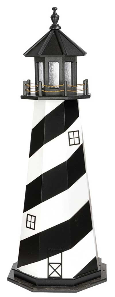 5' Amish Crafted Wood Garden Lighthouse - Cape Hatteras - Black & White