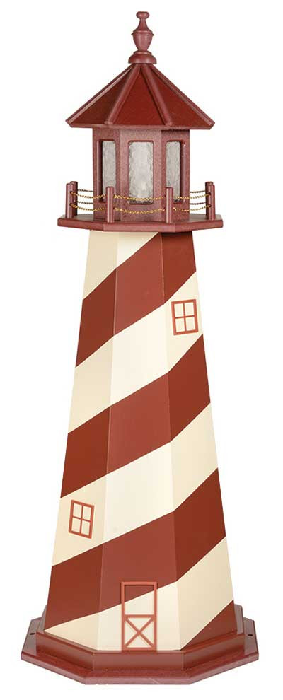 5' Amish Crafted Wood Garden Lighthouse - Cape Hatteras - Cherrywood & Ivory