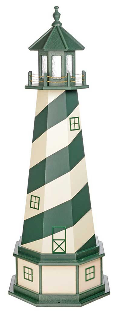 5' Amish Crafted Wood Garden Lighthouse w/ Base - Cape Hatteras - Turf Green & Ivory