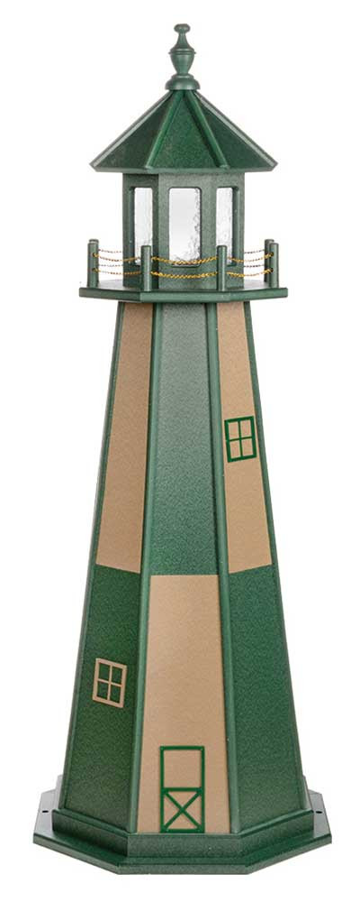 Amish Crafted Wood Garden Lighthouse - Cape Henry - Turf Green & Weatherwood
