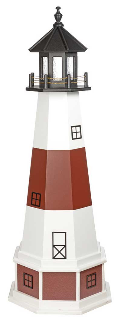5' Amish Crafted Wood Garden Lighthouse w/ Base - Montauk -White & Cherrywood