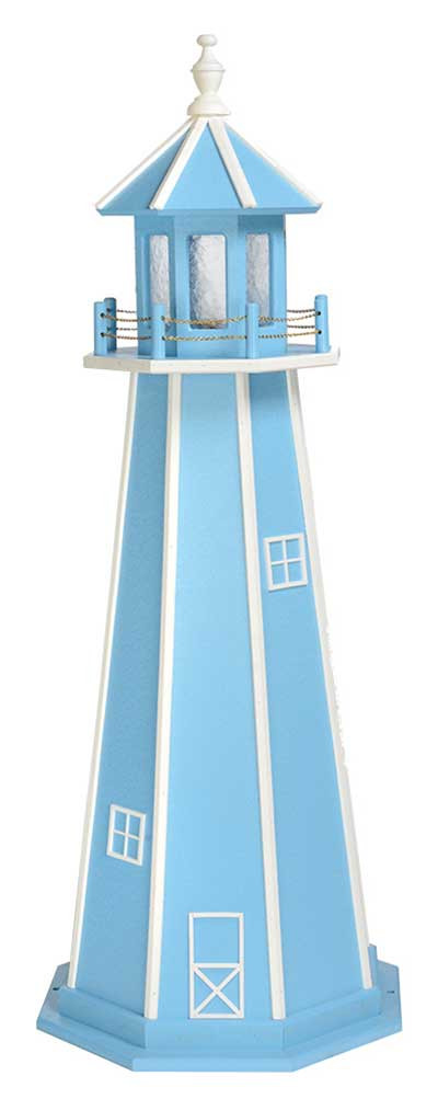 5' Amish Crafted Wood Garden Lighthouse - Custom Painted - Powder Blue & White