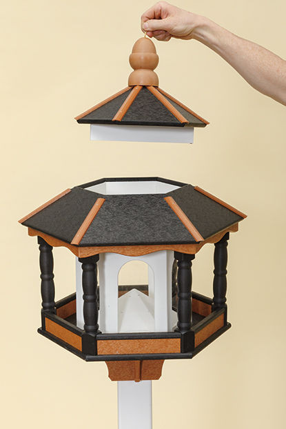 Large Hexagon Polywood Bird Feeder - Easy open roof for cleaning & filling