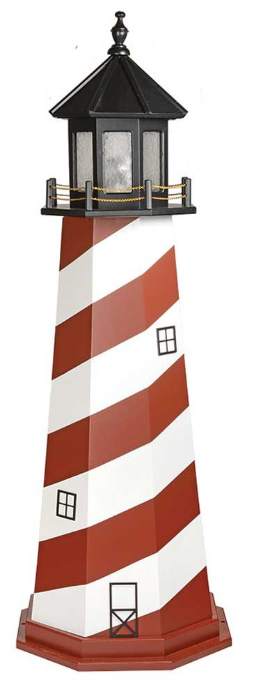 6' Amish Crafted Wood Garden Lighthouse - Cape Hatteras - Cherrywood & White