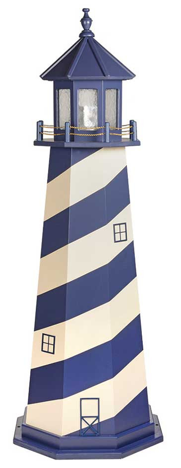 6' Amish Crafted Wood Garden Lighthouse - Cape Hatteras - Patriot Blue & Ivory