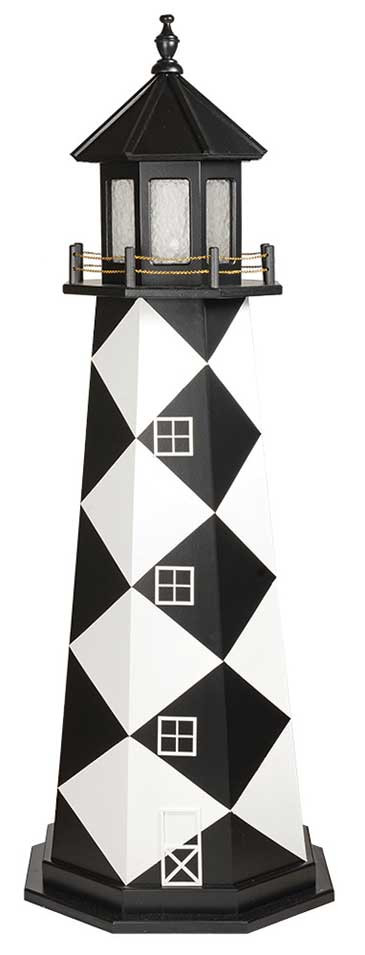 6' Amish Crafted Wood Garden Lighthouse - Cape Lookout - Black & White