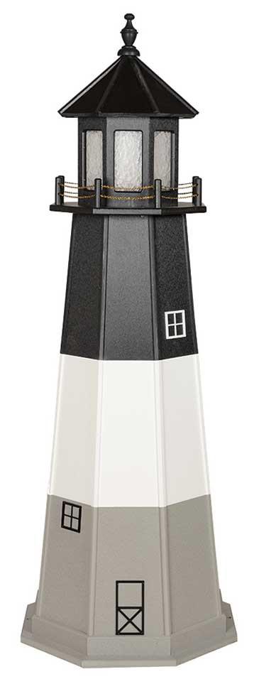 6' Amish Crafted Wood Garden Lighthouse w/ Base - Oak Island - Black, White & Light Grey