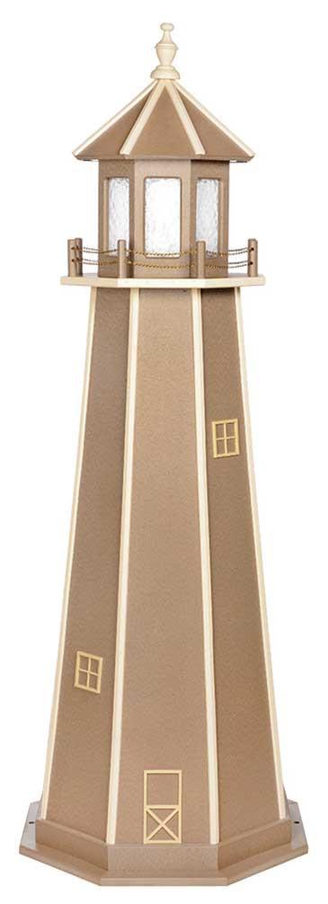 6' Amish Crafted Wood Garden Lighthouse - Custom Painted - Weatherwood & Ivory