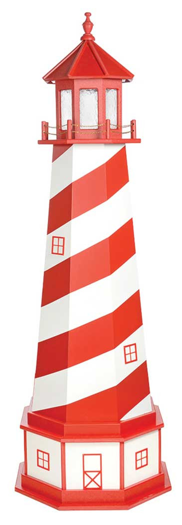 6' White Shoal Wooden Lighthouse with Base