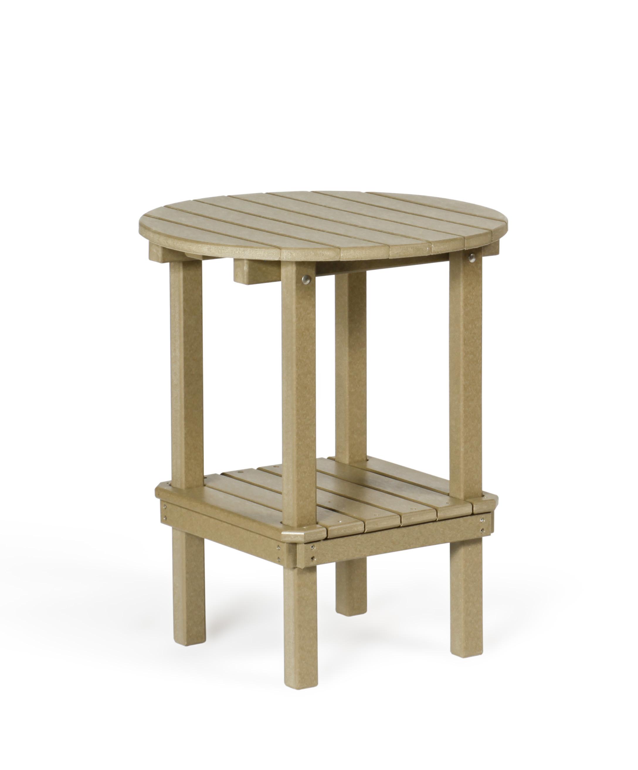 Poly Double Tier Table - Weatherwood