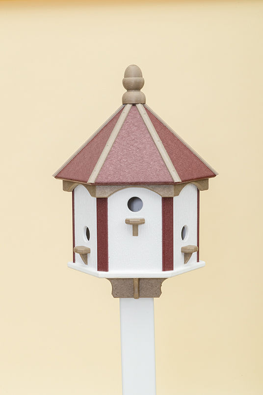 6 Hole Polywood Birdhouse - Cherry/WR/White Walls