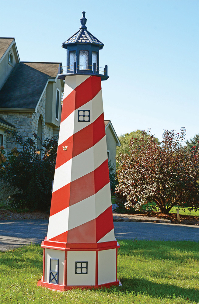 8' Amish Crafted Wood Garden Lighthouse w/ Base -  Cape Hatteras