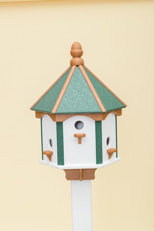 6 Hole Polywood Birdhouse - Green/Cedar/White Walls