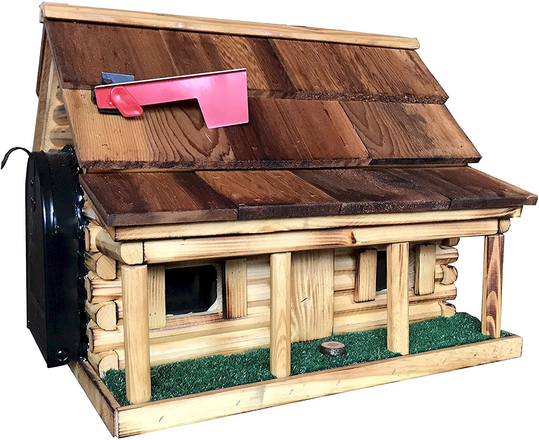 Log Cabin Mailbox - Natural roof
