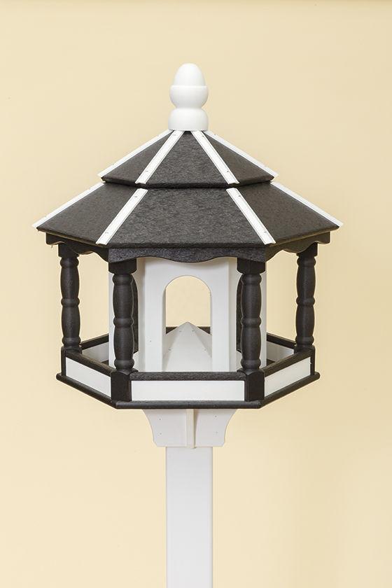 Large Hexagon Polywood Bird Feeder - Black/White