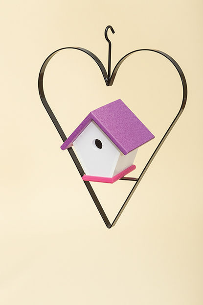 Polywood Wren House with Heart - Purple/Pink