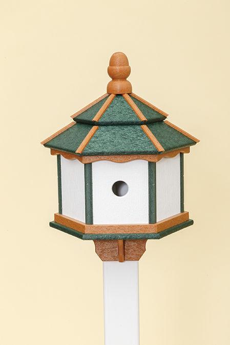3 Hole Hexagon Polywood Birdhouse - Green/Cedar/White - Post Mount