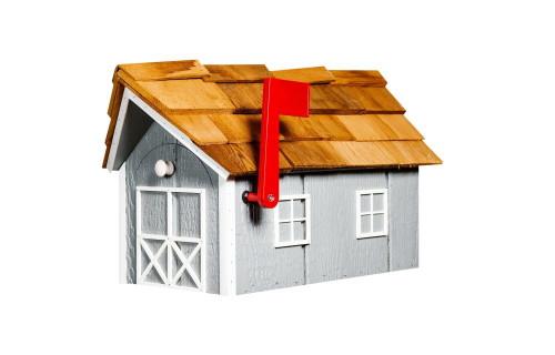 Wooden Barn Mailbox w/ Cedar Shake Roof - Light Gray & White