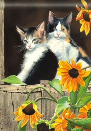 Calico Kitties - Standard Flag