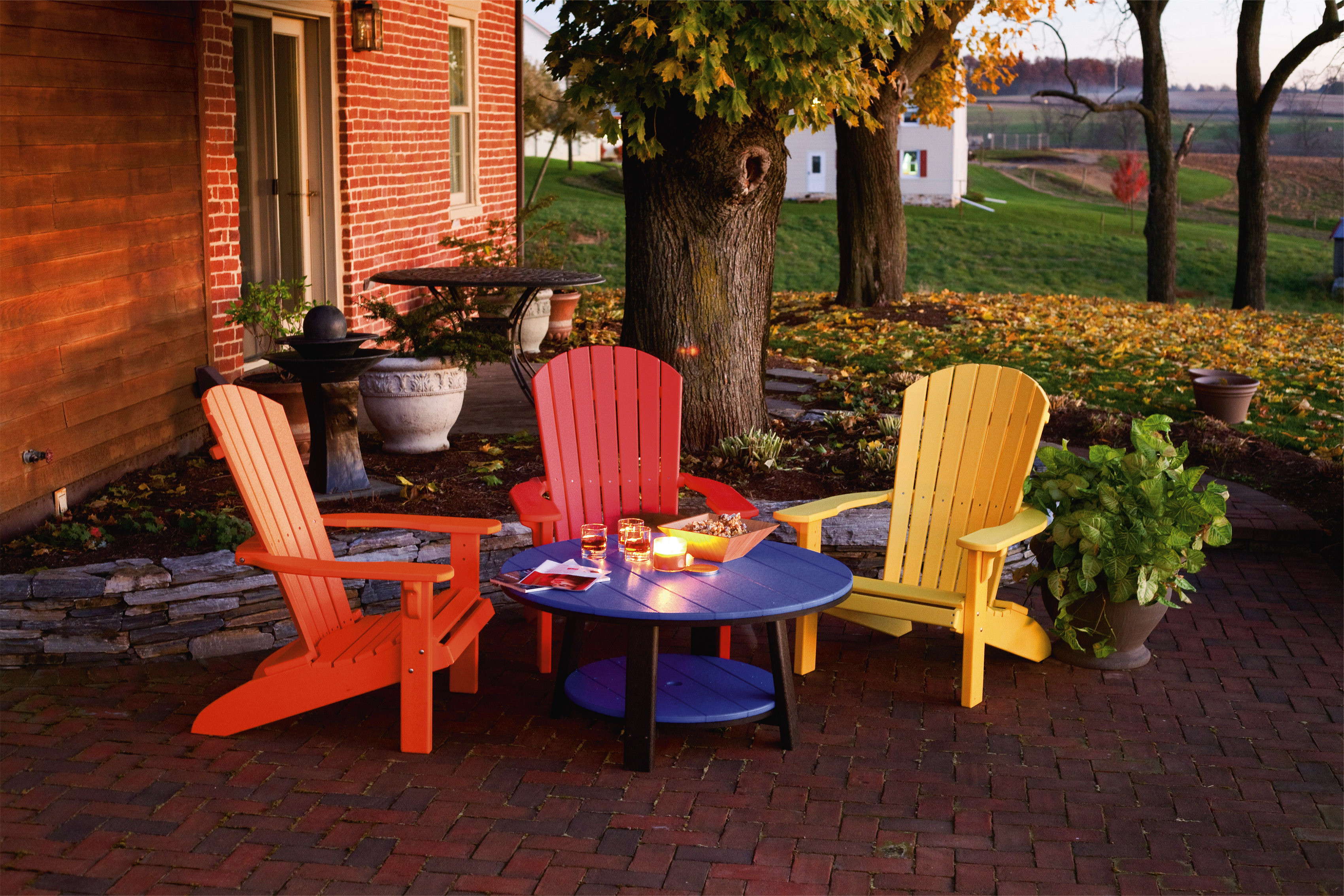 Fan Back Polywood Adirondack Chairs - Orange, Red & Yellow (Conversation Table sold separately)