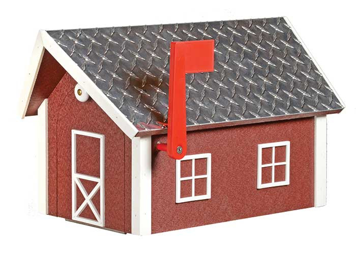 Deluxe Poly Barn Mailbox w/ Aluminum Plate Roof - Cherrywood w/ White Trim