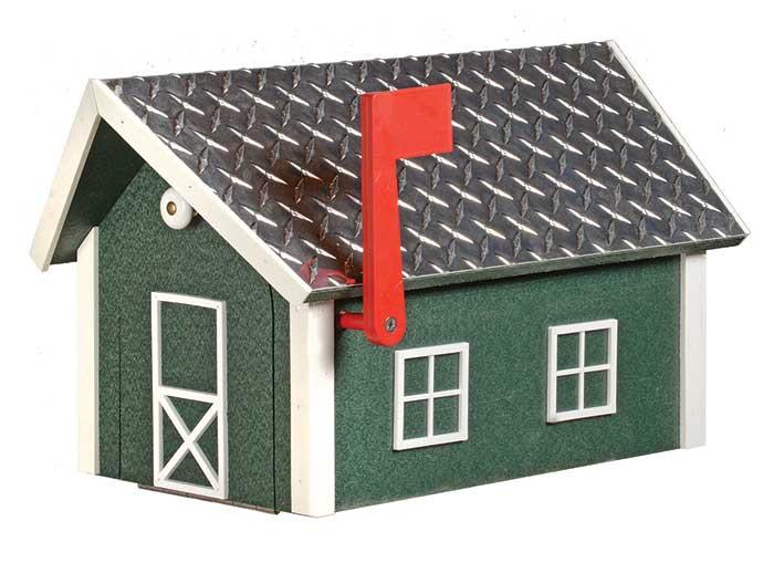 Deluxe Wooden Barn Mailbox w/ Aluminum Diamond Plate Roof - Turf Green & White