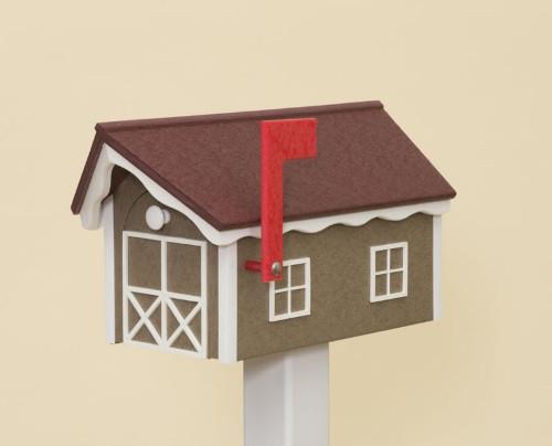 Classic Dutch Barn Polywood Mailbox - Weatherwood Base/Cherry Roof/White Trim