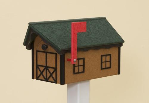 Classic Dutch Barn Polywood Mailbox - Cedar Base/Green Roof/Black Trim