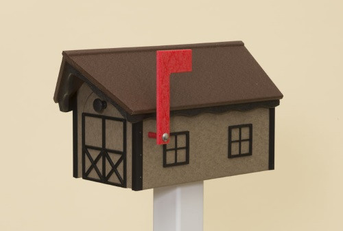 Classic Dutch Barn Polywood Mailbox - Weatherwood Base/Cherry Roof/Black Trim
