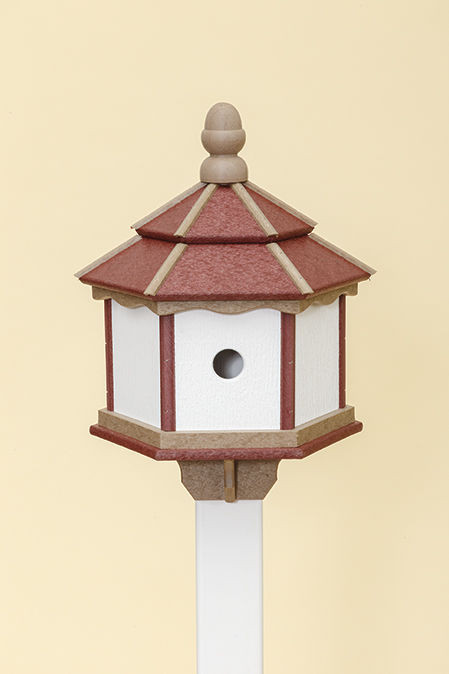 3 Hole Hexagon Polywood Birdhouse - Cherry/Weatherwood/White - Post Mount