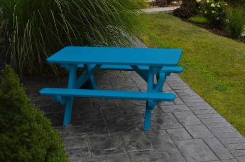 Kid's Yellow Pine Picnic Table with Attached Benches - Pine painted Caribbean Blue