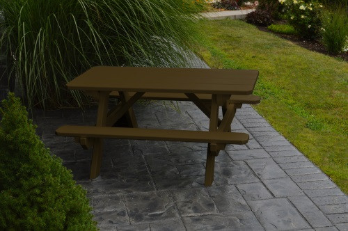 Kid's Yellow Pine Picnic Table with Attached Benches - Pine painted Coffee