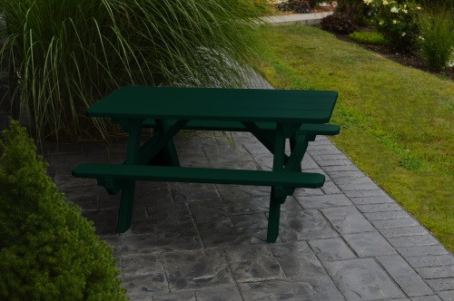 Kid's Yellow Pine Picnic Table with Attached Benches - Pine painted Dark Green