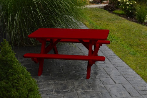 Kid's Yellow Pine Picnic Table with Attached Benches - Pine painted Tacter Red