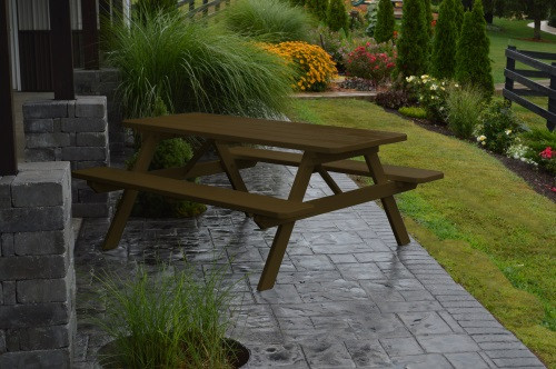 8' Yellow Pine Picnic Table w/ Attached Benches - Coffee
