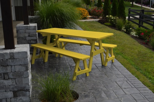 6' Traditional Yellow Pine Picnic Table w/ 2 Benches - Canary Yellow