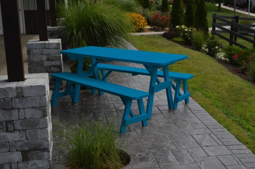6' Traditional Yellow Pine Picnic Table w/ 2 Benches - Caribbean Blue