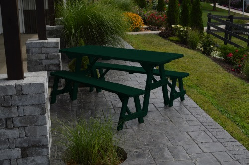 6' Traditional Yellow Pine Picnic Table w/ 2 Benches - Dark Green