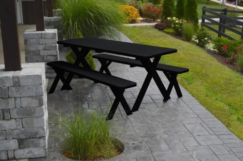 8' Crosslegged Yellow Pine Picnic Table w/ 2 Benches - Black