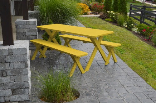 8' Crosslegged Yellow Pine Picnic Table w/ 2 Benches - Canary Yellow