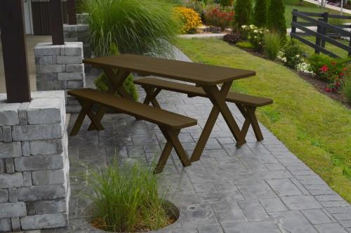 8' Crosslegged Yellow Pine Picnic Table w/ 2 Benches - Coffee