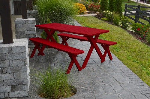 8' Crosslegged Yellow Pine Picnic Table w/ 2 Benches - Tractor Red
