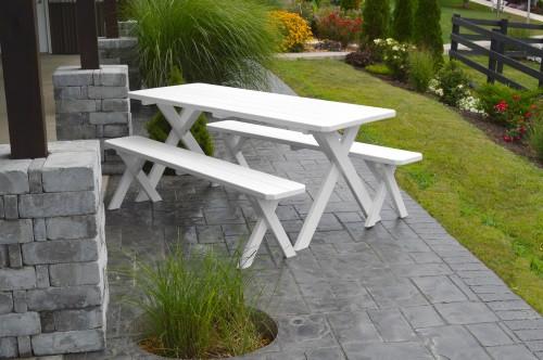 6' Crosslegged Yellow Pine Picnic Table w/ 2 Benches - White