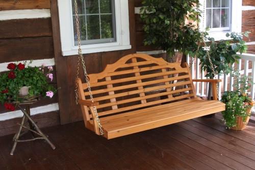 6' Marlboro Cedar Porch Swing - Cedar Stain