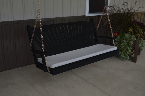 4' Fanback Yellow Pine Porch Swing - Black w/ cushion