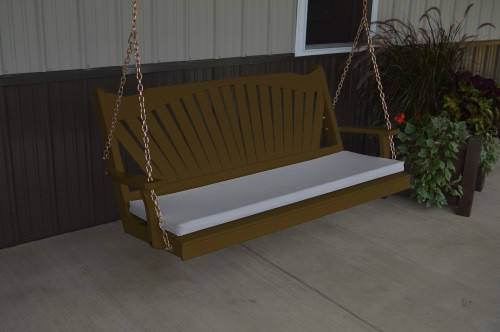 4' Fanback Yellow Pine Porch Swing - Coffee w/ cushion