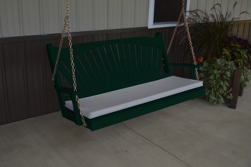 4' Fanback Yellow Pine Porch Swing -  Dark Green w/ cushion