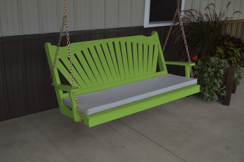 4' Fanback Yellow Pine Porch Swing - Lime Green w/ cushion