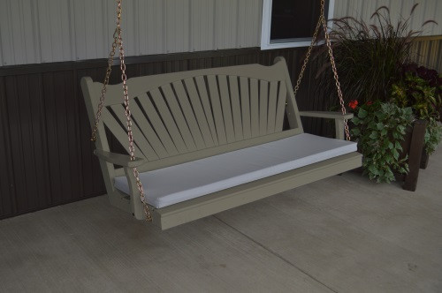 4' Fanback Yellow Pine Porch Swing - Olive Gray w/ cushion